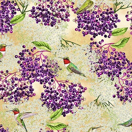 Birds and Berries of Maine: Hummingbird & Elderberry AHYD-19587-445 - Official Maine Shop Hop Fabrics 2020