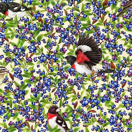 PRE-ORDER: Birds and Berries of Maine: Grosbeak & Blueberry AHYD-19588-446- Official Maine Shop Hop Fabrics 2020