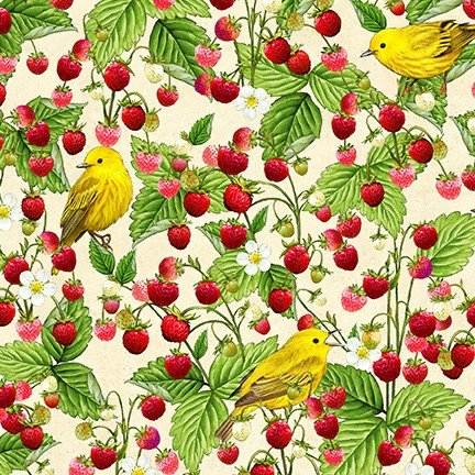 Birds and Berries of Maine: Warbler & Strawberry AHYD-19590-448 - Official Maine Shop Hop Fabrics 2020