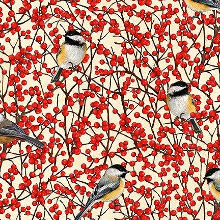 *Birds and Berries of Maine: Chickadee & Winterberry AHYD-19591-449 - Official Maine Shop Hop Fabrics 2020