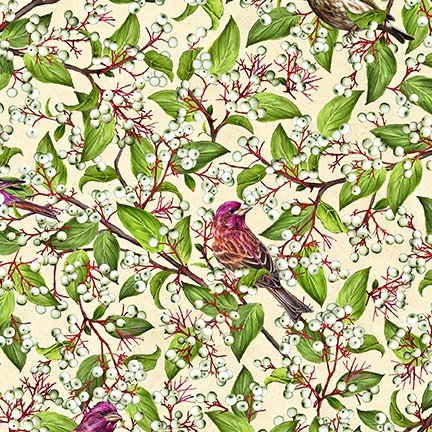 Birds and Berries of Maine: Purple Finch & Dogwood AHYD-19592-450- Official Maine Shop Hop Fabrics 2020