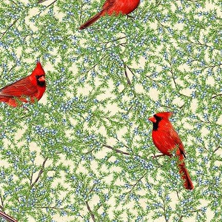 PRE-ORDER: Birds and Berries of Maine: Cardinal & Juniper Berry AHYD-19593-94- Official Maine Shop Hop Fabrics 2020