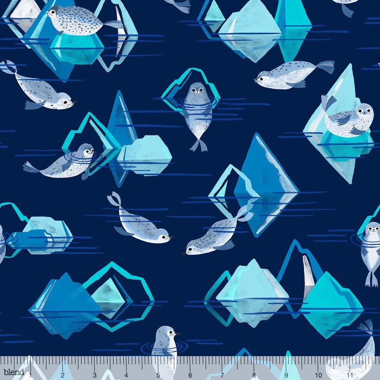 Arctic Playground by Katy Tanis for Blend | 124.106.01.1 Seals Dark Blue Icebergs