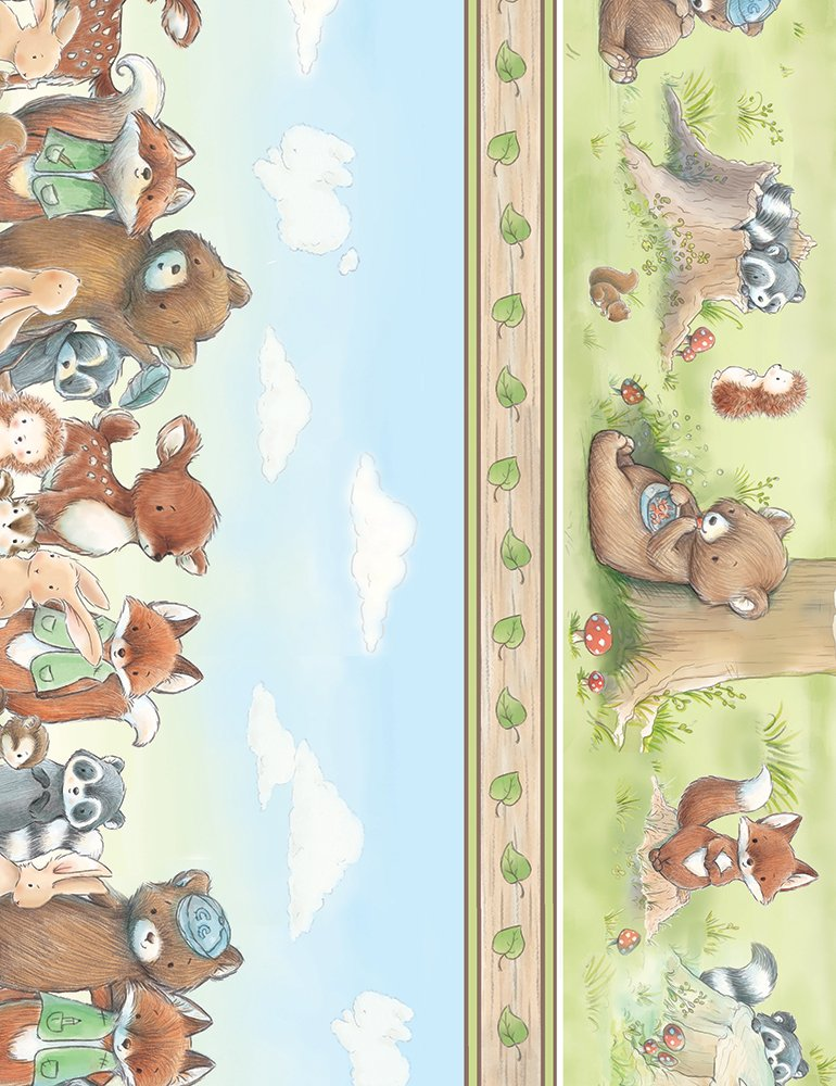 Camp Cricket by Bunnies By The Bay C6718 Sky - Forest Friends Stripe