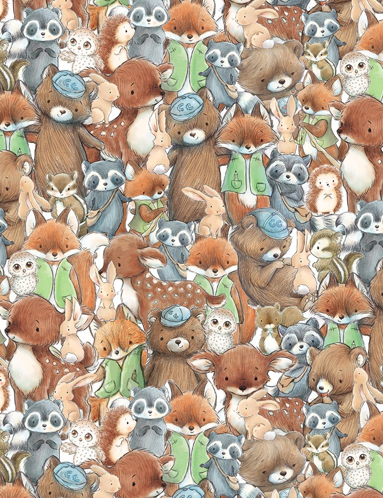 Camp Cricket by Bunnies By The Bay C6721 Multi - Packed Forest Friends