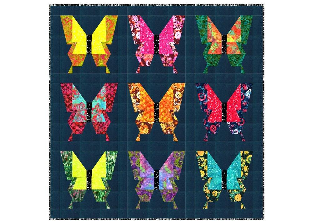 Free Pattern:  RJR Blossom Batiks - FLY AWAY quilt