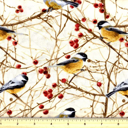 Chickadees by Timeless Treasures- Nature C7206 Cream