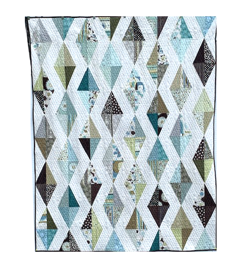 Quilt For Sale:  Cascading Diamonds - Modern quilt featuring Michelle D'Amore fabrics