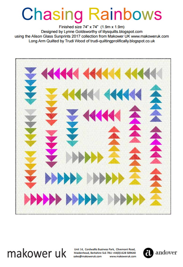 Free Pattern:  Sun Prints 2017 for Andover - CHASING RAINBOWS quilt