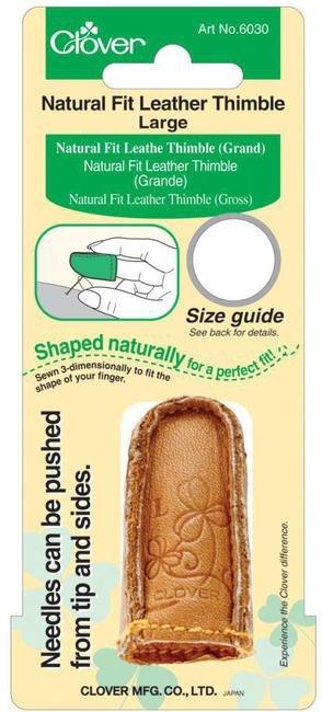 Clover Natural Fit Leather Thimble Large 6030