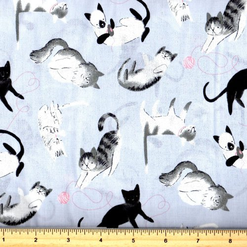 Clothworks Here Kitty Kitty Y1417-5 Light Gray