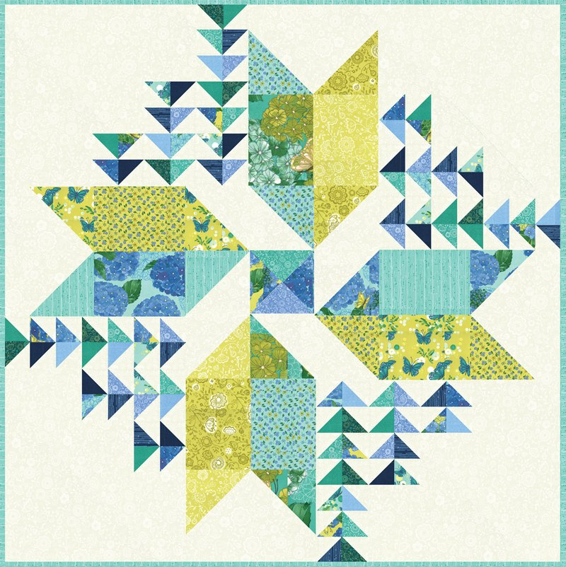 Moda   Cottage Bleu Wind Drifter Quilt Kit 48690 - makes a 65 x 65 quilt by Robin Pickens