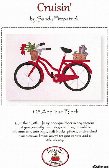 Pattern: Cruisin'  - 12 Applique Block with Bicycle & Basket