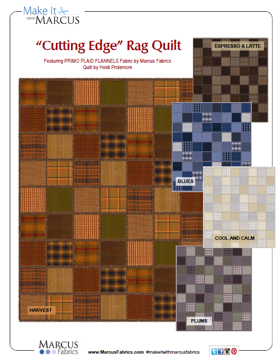 Free Pattern:  Marcus Fabrics CUTTING EDGE FLANNEL RAG QUILT 64 x 72