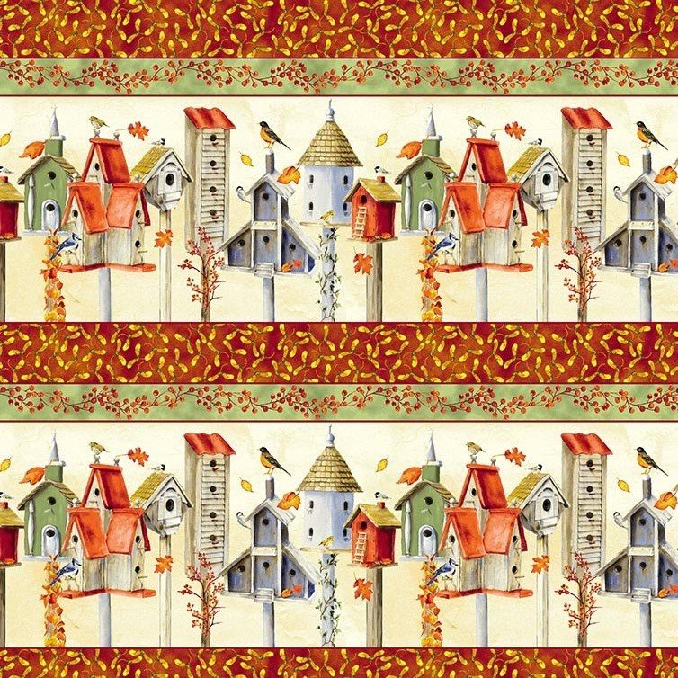 Clothworks Fall Feast by Barb Tourtillotte Y1934 59 Butter Fall Bird Border Stripe