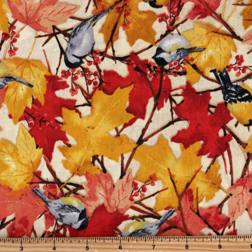 Clothworks Fall Feast by Barb Tourtillotte Y1938 59 Fall Leaves and Birds