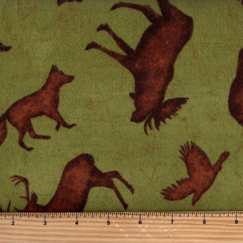 Clothworks Wilderness Flannel by Robin Davis Y2012-24 Olive