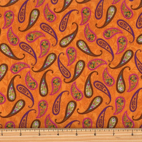 Clothworks Spice Garden by Sue Zipkin - Orange Paisley Y2045-36
