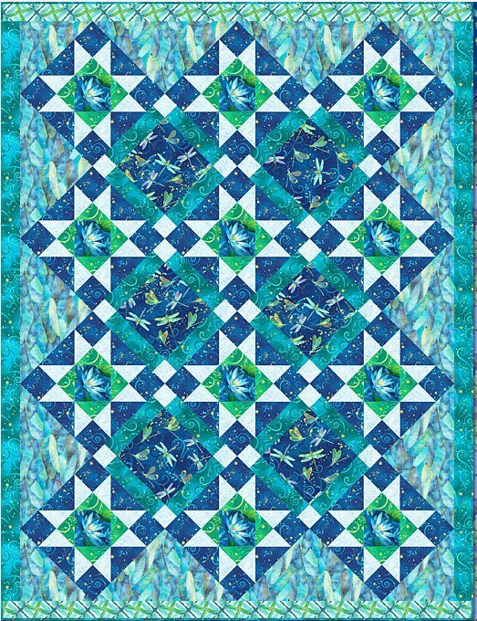 Quilt Kit:  Dazzling Dragonflies BLUE GREEN featuring Dance of The Dragonfly fabrics