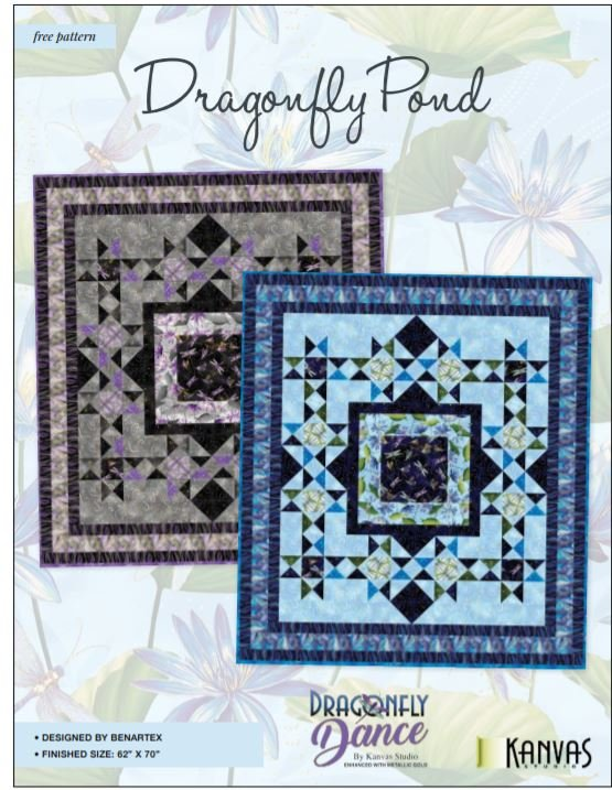 Free Pattern:  Dragonfly Pond Quilt - for Dragonfly Dance by Kanvas Studio/Benartex