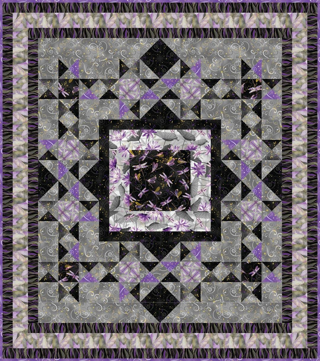 Dragonfly Pond Quilt Kit - Charcoal/Purple - Featuring Dragonfly Dance Fabrics