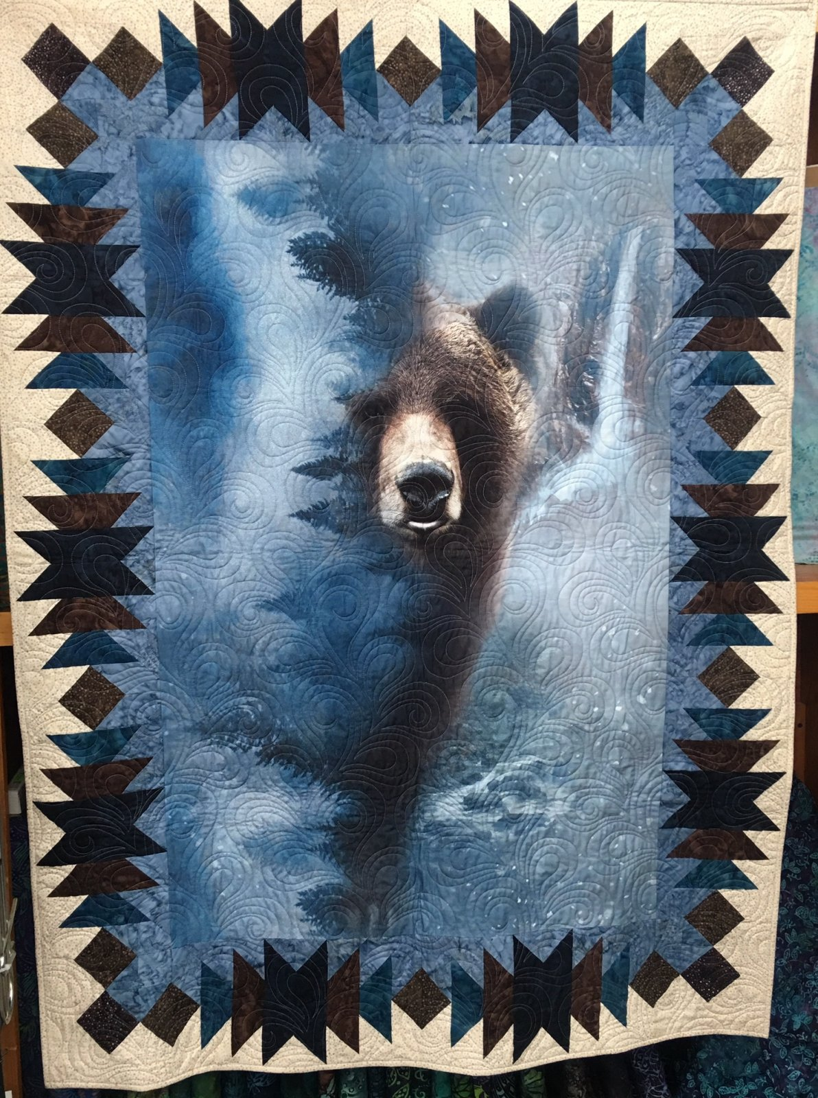 Echo Bear Quilt Kit - Includes batik fabrics and Hoffman Digital Bear Panel