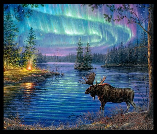 Elizabeths Studio - Northern Lights 9600 Black - Moose Panel Digitally Printed