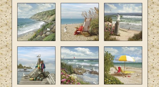 Coastal Dreams 24 PANEL 13004-Sand - Ocean/Beach Chairs/Buoys - by Elizabelths Studio