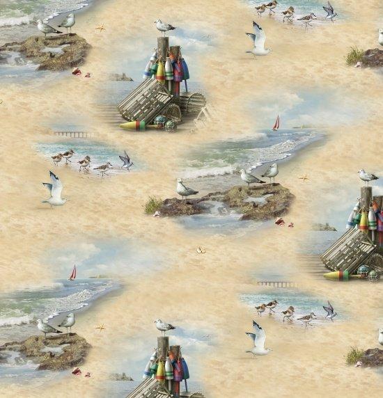 Coastal Dreams 13005-Sand - Ocean/Beach Lobster Traps/Buoys - by Elizabelths Studio