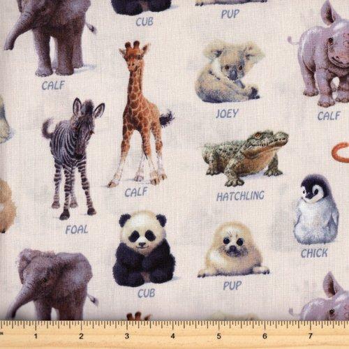 Elizabeth's Studio Animal Friends 7303-Cream Jungle Baby Animals