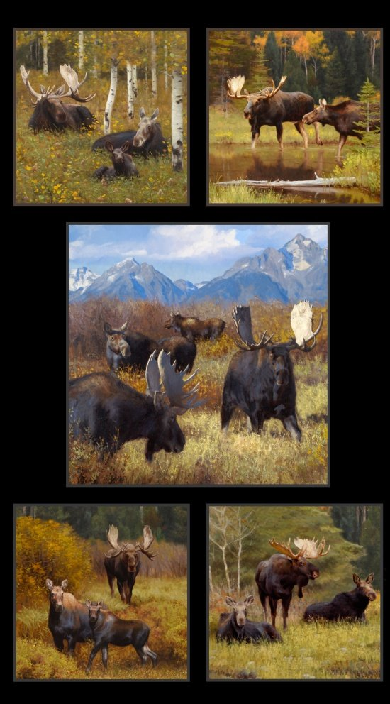 Elizabeths Studio North American Wildlife Moose Panel 8800 Black