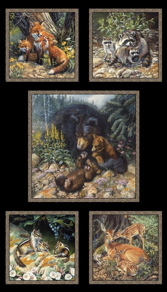Elizabeths Studio Woodland Families - Bear Deer Fox Raccoon Chipmunk PANEL 9100E Black