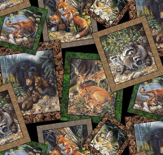 Elizabeths Studio Woodland Families - Framed Bear Fox Chipmunk Deer 9102 Black