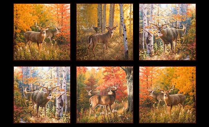 Elizabeths Studio Autumn Surprise Fall Leaves Deer PANEL 9200 Black