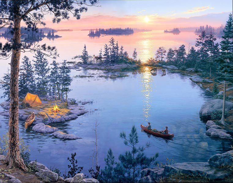 Elizabeth's Studio Digital Sunrise Panel: DP8906 Black - Lake Campfire Canoe