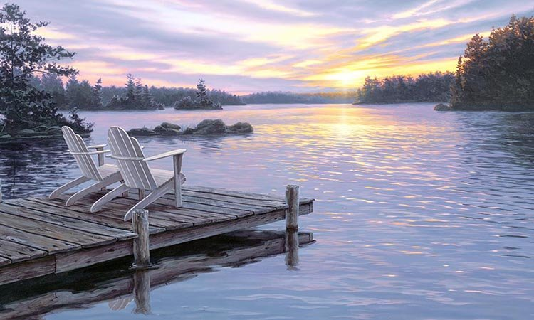 Elizabeth's Studio Digital Sunrise Panel: DP8907 Black - Lake Dock