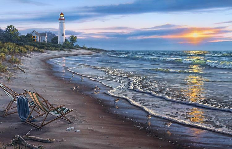 Elizabeth's Studio Digital Sunrise Panel: DP8908 Black - Lighthouse Scene