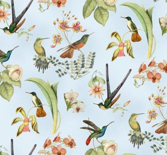 Elizabeths Studio - Hummingbirds In Style M9001 Blue Hummingbird Floral