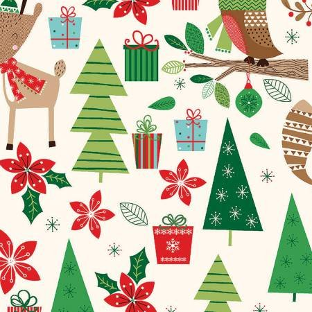 Merry Woods - Woodland Friends by Fabric Editions 13903 Cream