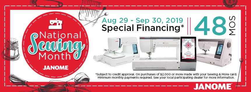 Janome National Sewing Month financing