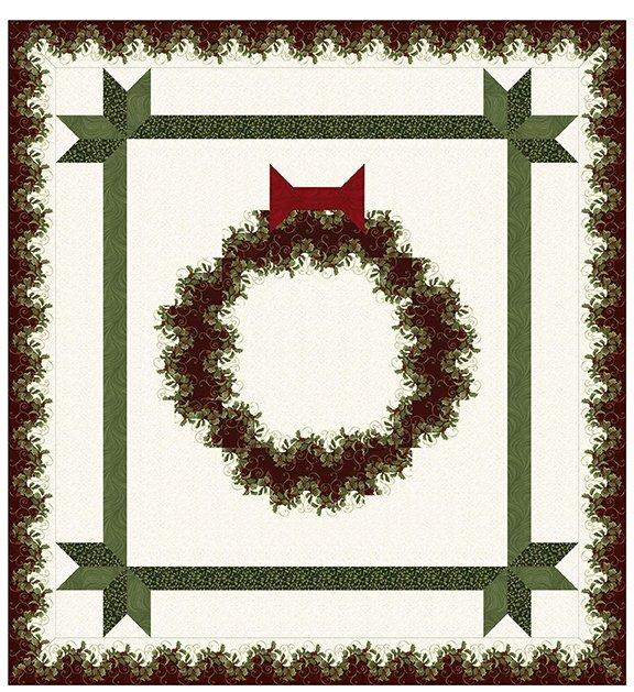 Quilt Kit:  Festive Wreath 78 x 84 featuring Festive Season 2 fabrics