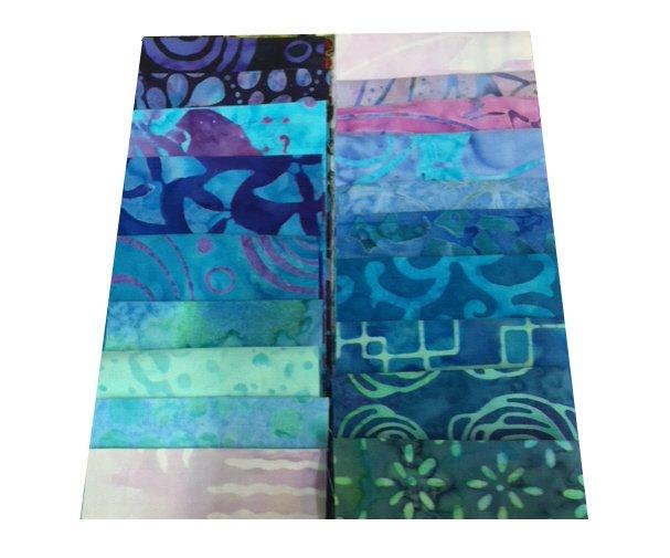 Pack of 20 Assorted 2 1/2 Batik Fabric Strips