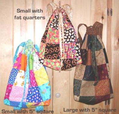 The Fabric Garden - Charmed Back Pack Pattern uses 5 squares or fat quarters