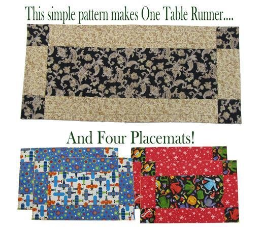 The Fabric Garden - Easiest Table Runner & Placemats Ever Pattern