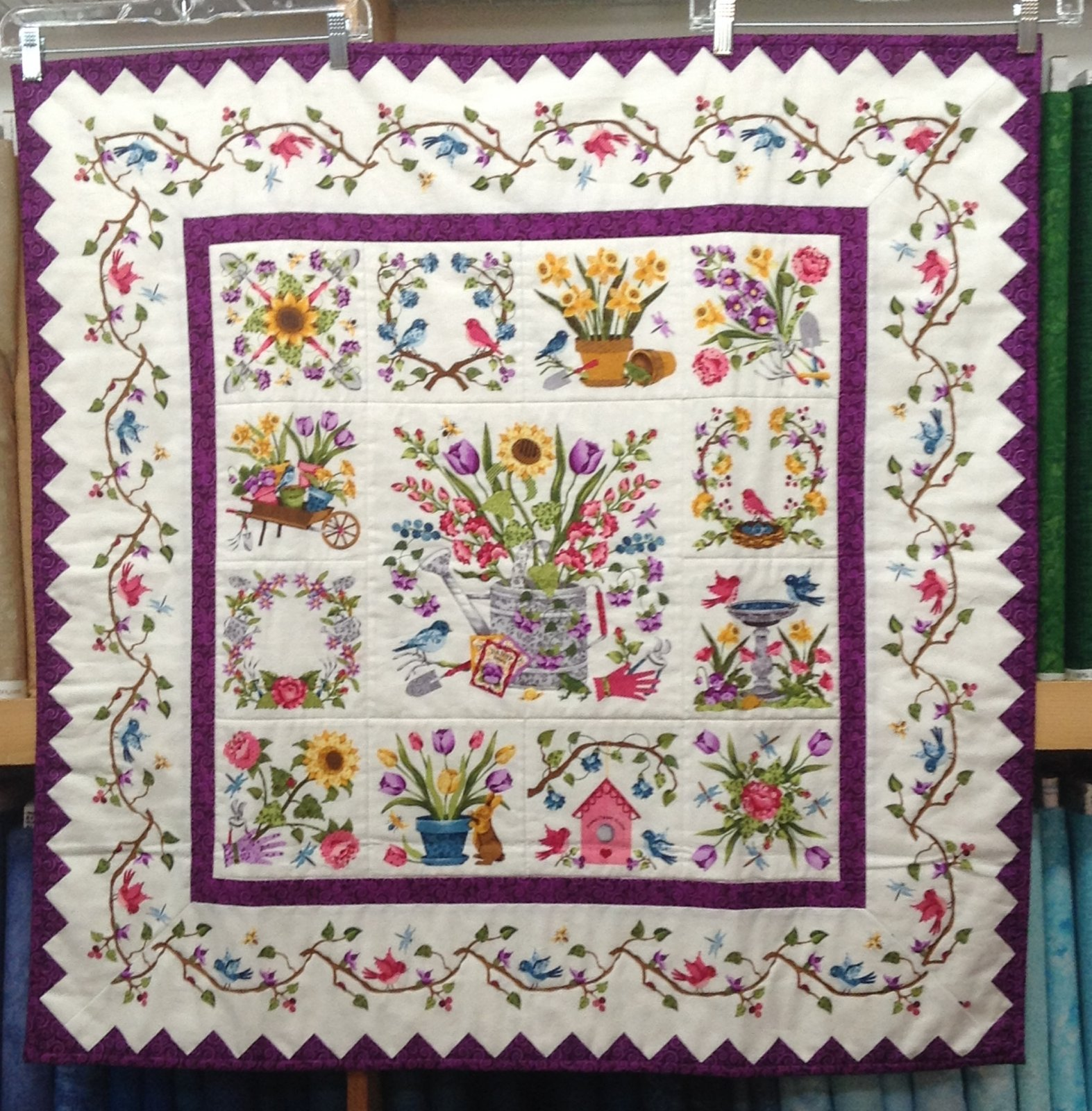 Quilt - Wall Hanging for Sale:  Floral Fantasy featuring Baltimore Spring 36 x 36