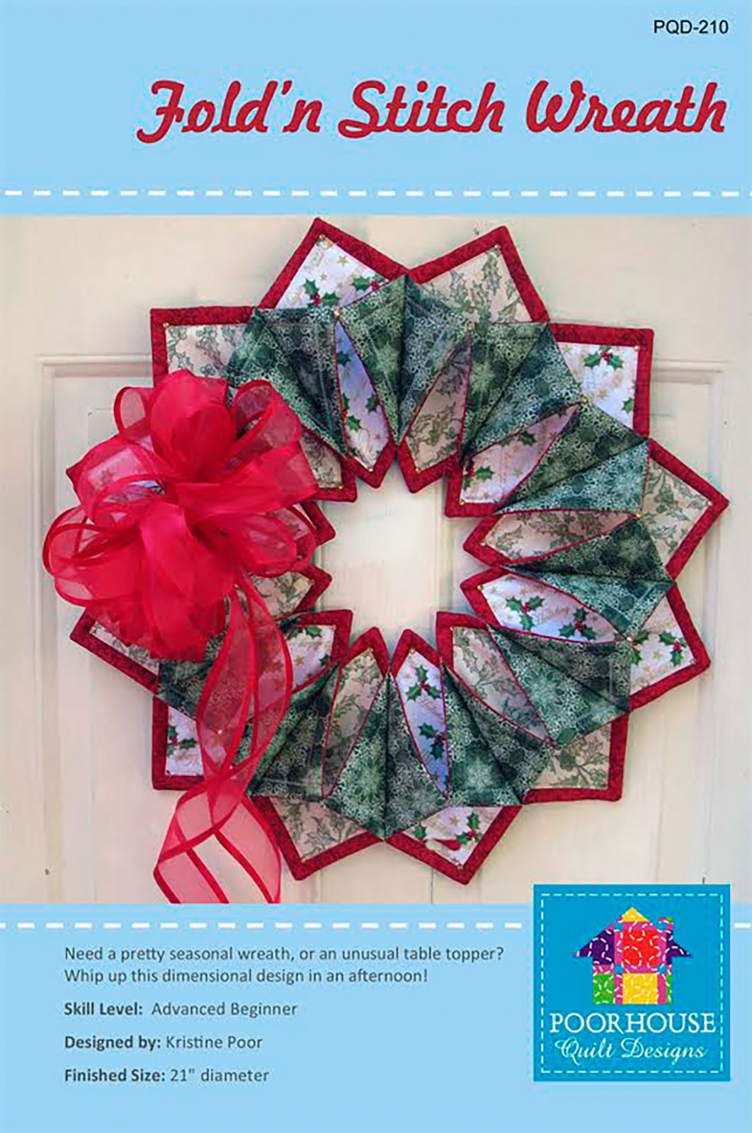 Fold n' Stitch Wreath Pattern by Poorhouse Quilt Designs