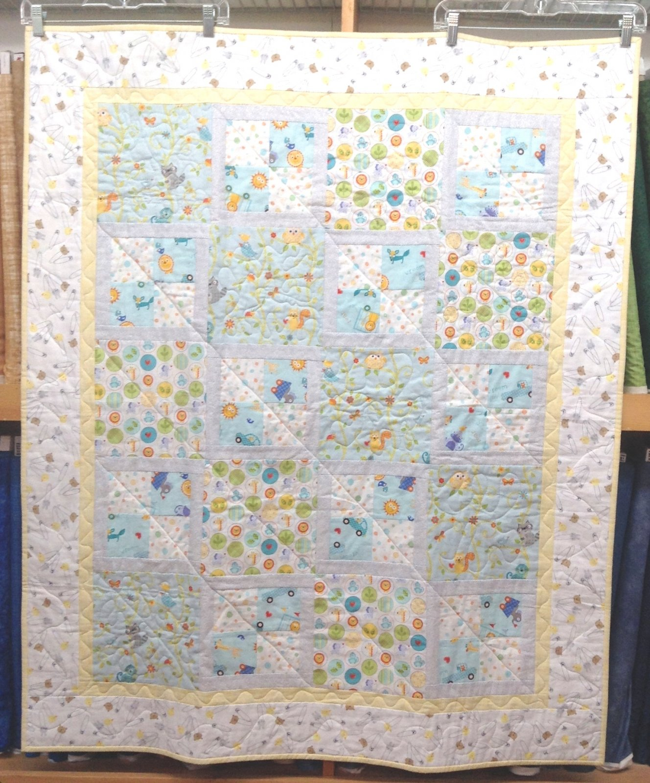Quilt for Sale: Baby Quilt - Four Patch Fun with Owl Squirrel them 40 x 48