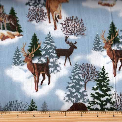 Fabri-Quilt-140-28611-Big Country Animals in Snow Flannel
