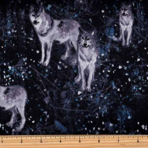 Fabri Quilt 140-28751 Big Country Wolves in Forest Flannel