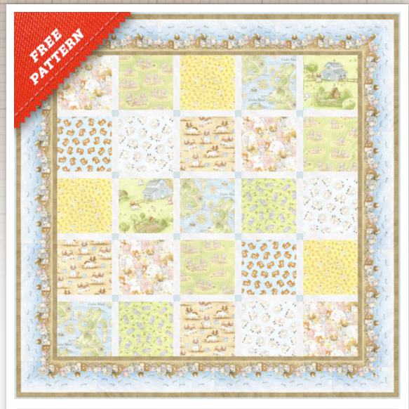 Free Pattern: Farm Friends Squared -  featuring Cotton Tale Farm by Timeless Treasure